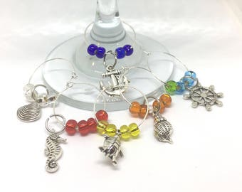 Nautical Theme Wine Charms with Colored Beads x6 Turtle,  Sea Horse, Shell, Anchor