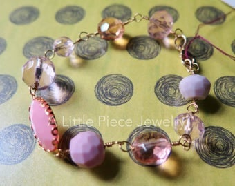 Pink Beaded and Gold Wire Wrapped Bracelet with Acrylic Beads