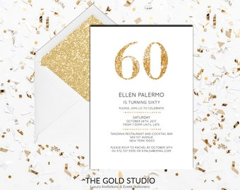 Instant download 60th birthday invitation sixty 60 modern elegant gold glitter birthday invite editable template Mac or PC, Word or Pages
