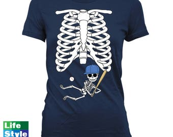 Halloween Skeleton Shirt Maternity Announcement T-shirt (Baseball baby) Pregnant Skeleton Baby Shirts Pregnancy Halloween Costume CT-1325