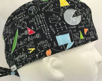 "Math Fitted Mens surgical surgeon's cap scrub caps hat Men OR surgery hat skull cap Lovenstitchies 23"" large chalkboard Black"