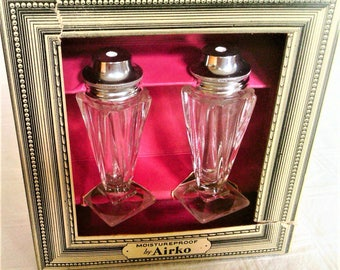 Vintage Airko Clear Glass Salt And Pepper Shakers In Original Box