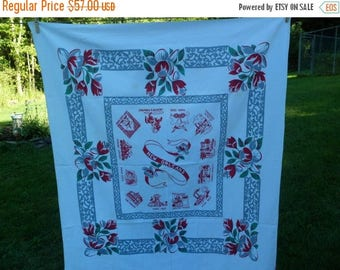 """3 Day SALE Vintage Hardy Craft New Orleans Souvenir Tablecloth 46 x 54"""" Hard to Find"""