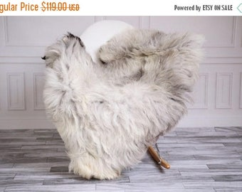 ON SALE Exclusive collection Genuine Gray GUTE Gotland Breed Sheepskin Rug, Pelt, Chair Cover, Throw Scandinavian Style #Gutefly5