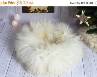 ON SALE Sheepskin Cat bed , Cat cave , pet bed , cat house ,pet furniture hand made -  Genuine Real Sheepskin - white