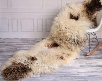 Double Sheepskin Rug | Long rug | Shaggy Rug | Chair Cover | Runner Rug | Brown Rug | Carpet | Beige Sheepskin