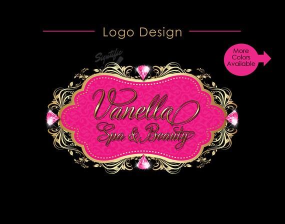Vintage Diamond Logo, Business Logo, Beauty Salon Logo, Spa Logo, Vintage Frame Logo, Diamond Bling Logo, Hair Extension Logo, Blng Logo