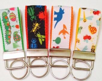 4 MINI Backpack/ChildToy Bag Tags/Key Fobs: Bugs Beetles Dino Ribbon,Zipper Pulls, Science Teacher Whistle Fob,Souvenir/Gift,Scissors Tag