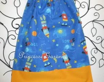 Home nursery * napkin canteen with elastic at the neck - cotton space - custom