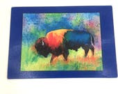 Cutting Board , Cheese Board, Buffalo, Bison Art , Wildlife, Gift, Kitchen , Glass Cutting Board