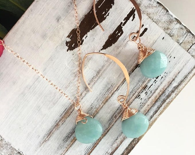 Featured listing image: Amazonite Rose Gold Wire Wrapped Briolette Jewelry Set, Gift Ideas for Her, Healing Crystals, Birthday Gift Ideas, Wire Wrapped Jewelry