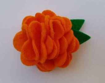 Felt flower hairclip, felt flower hair clip, felt flower, felt hairclip, flower hair clip, felt flower, orange felt flower, orange flower