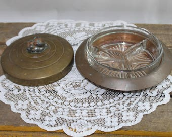 Vintage Brass Decorative Candy Dish with Removable Glass Bowl