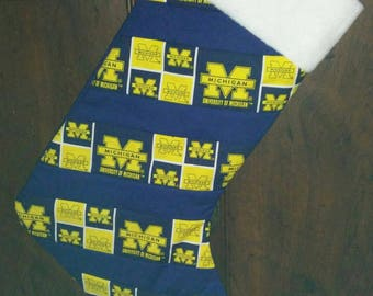 Quilted University of Michigan Christmas Stocking