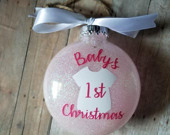 Baby's First Christmas Ornament with Bodysuit - Christmas Ornament - Christmas Gift - First Ornament - Baby's Ornament - First Christmas