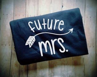Future Mrs. with Arrow Women's TShirt - Fiance Shirt - Engagement Shirt - I'm Engaged Shirt - Wedding Clothing - Bachelorette Party Clothing