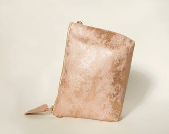 Rose gold crossbody bag, Rose gold leather purse, small shoulder bag, make up bag, women leather purse, gift for her, ONLY 2 PIECES