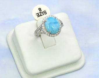 Larimar Ring 12X10 Oval With White Sapphire Accents .925 Sterling Silver Size 8 (New Style)