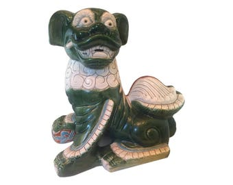 Vintage Large Ceramic Chinese Foo Dog Statue in Green, White and iron Red Glazes - Garden Sculptures for Sale