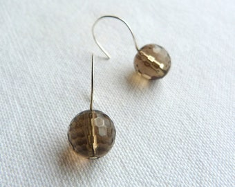 Brown and Silver earrings, brass and natural stones