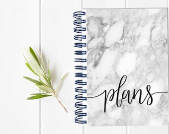 Small Undated Inspirational Motivational Planner - One Year Fill in Calendar Planner - Weekly Planbook - Monthly Marble Notebook Schedule