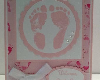 Handmade Baby Girl Card - Welcome Baby Greeting Card - Pink Baby Shower Card with Footprints - Embellished Congratulations on New Baby Card
