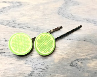 Lime Bobby Pins