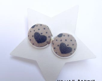 Fabric - hearts Stud Earrings