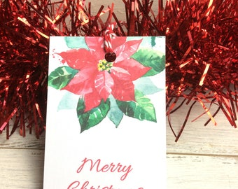 12 GIFT TAGS - Christmas Tags, Paper tags, Handmade tags,  Elegant tags, twine included, Poinsettia