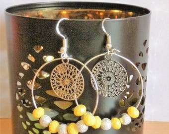 Earrings ' with yellow beads and rose filigree 925 Silver hoop earrings