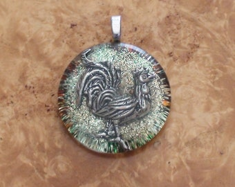 Handsome Golden Rooster Totem Passion Strength Luck Power Prosperity Orgone Energy Soul Crystal-Antenna Pendant Necklace 25mm Multicolor