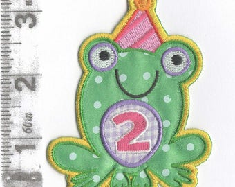2nd Birthday Frog iron on patch