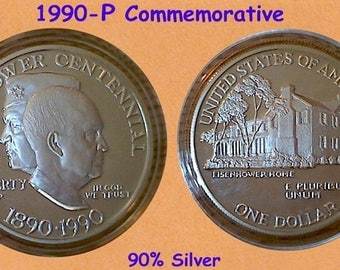 1990 Eisenhower Centennial Commemorative Proof Dollar by US Mint In Box & COA
