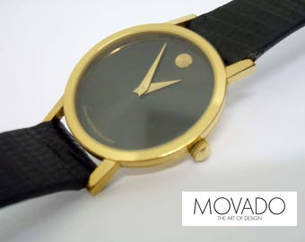 Ladies 24.7mm Movado Museum Dial  87.25.832 Gold Bezel Black Dial Dress Watch 87 25 832