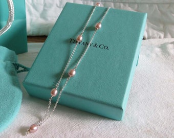 Tiffany Sterling Elsa Peretti Pearls By The Yard Necklace 38in.