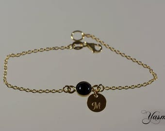 Black Onyx wish letter-optional finish in sterling