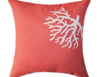SALE Coral Pillows, Decorative Pillow Covers, Coral Accent Pillows, Coral Cushions, Beach Decor Pillows, Coral Pillow Covers, Coral Euro Sha
