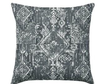 SALE Dark Grey Decorative Pillows, Grey Geometric Pillow, Grey Throw Pillow Covers, Grey and White Accent Pillow Case, Sioux Gunmetal Pillow
