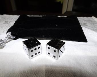 Dice, Dice Set, Gift For Her, Gaming, Board Game, Metal Dice, Vintage, Gift, Vegas, Art Deco, Silver Dice, Die, Vintage Games, Christmas