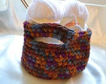 crocheted acrylic yarn knitting basket