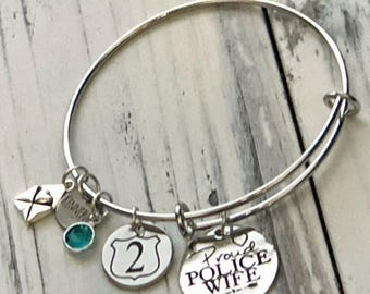 Proud Police Wife Personalized Adjustable Wire Bangle Bracelet