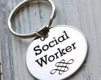 Social Worker Stainless Steel Personalized Key Chain - Engraved