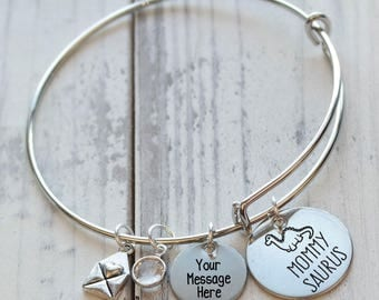 Mommy Saurus Personalized Wire Adjustable Bangle Bracelet