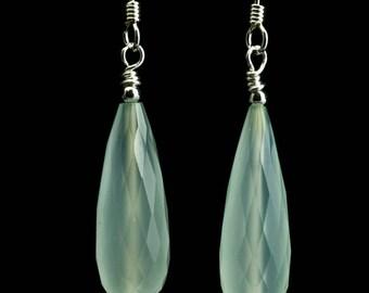 Faceted Aqua Chalcedony Long Drop Earrings Handmade