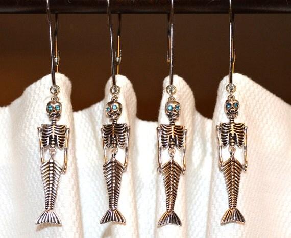Mermaid Skeleton Shower Curtain Hooks Articulated Silver