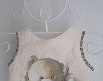 Bib apron beige Teddy bear pattern