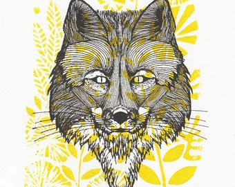 Handmade yellow screen printed Fox illustration and linocut / 20 x 30 cm / decoration