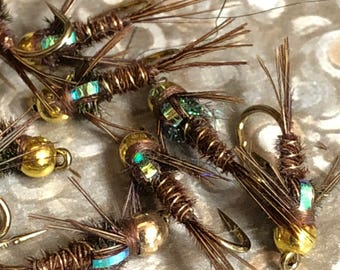 Pheasant Tail Nymph Flashback, One Dozen, hand tied flies, made in the USA, Fly tying