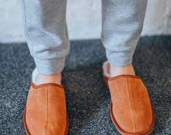 Mens loafer sheepskin slippers