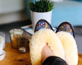 Cream mosaic sheepskin slippers